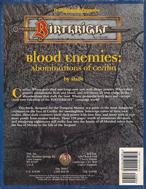 Advanced Dungeons & Dragons - Birthright - Blood Enemies Abominations of cerilia (Genbrug)