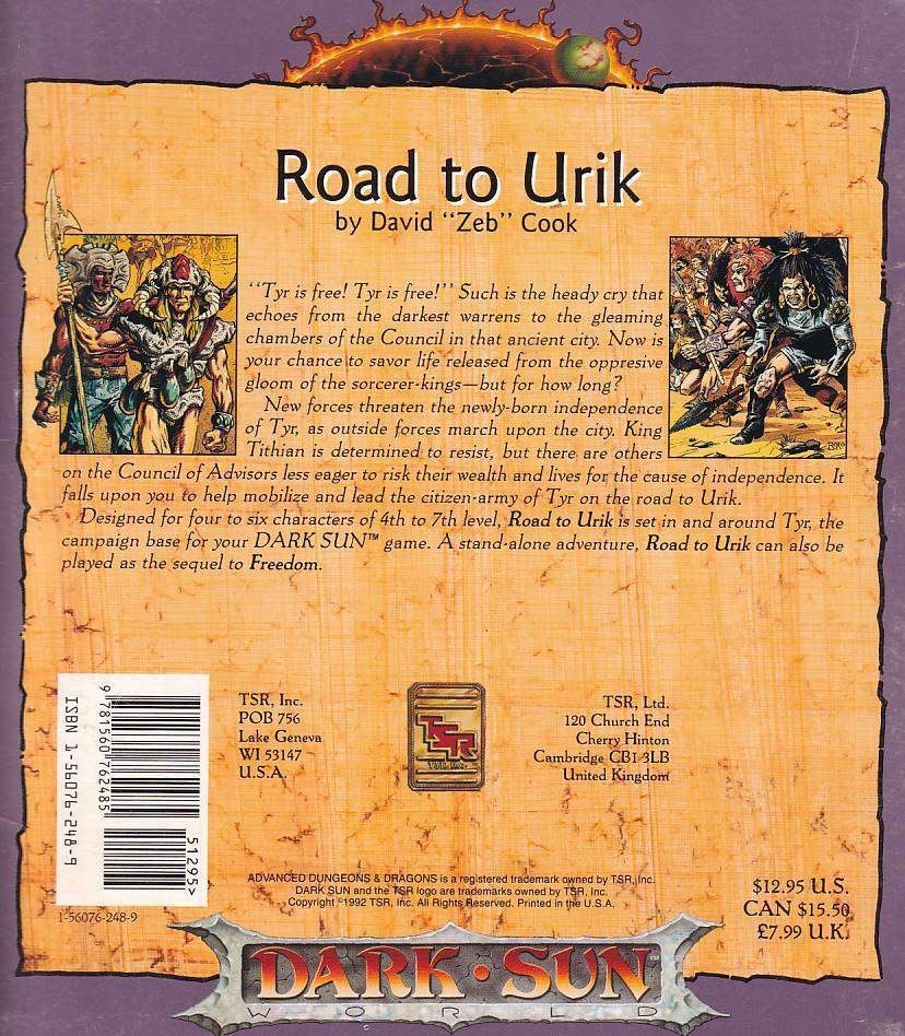 Advanced Dungeons & Dragons 2nd Edition - Dark Sun - Road to Urik (C Grade) (Genbrug)