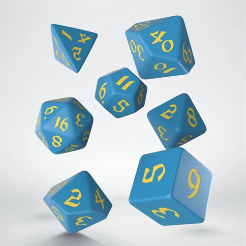 Classic Runic Blue & yellow Dice Set - rollespils terning sæt - Q-Workshop