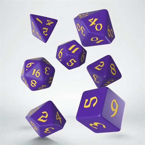 Classic Runic Purple & yellow Dice Set - rollespils terning sæt - Q-Workshop
