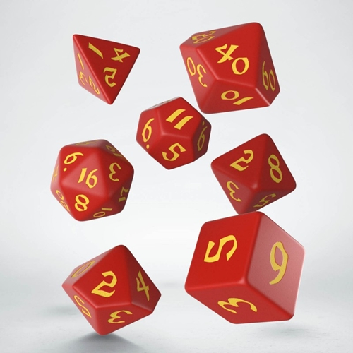 Classic Runic Red & yellow Dice Set - rollespils terning sæt - Q-Workshop