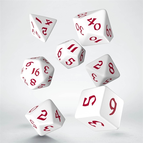 Classic Runic White & red Dice Set - rollespils terning sæt - Q-Workshop