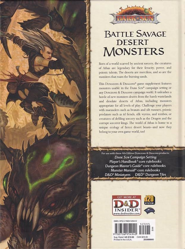 D&D 4th Dark sun Creature Catalog (Genbrug)