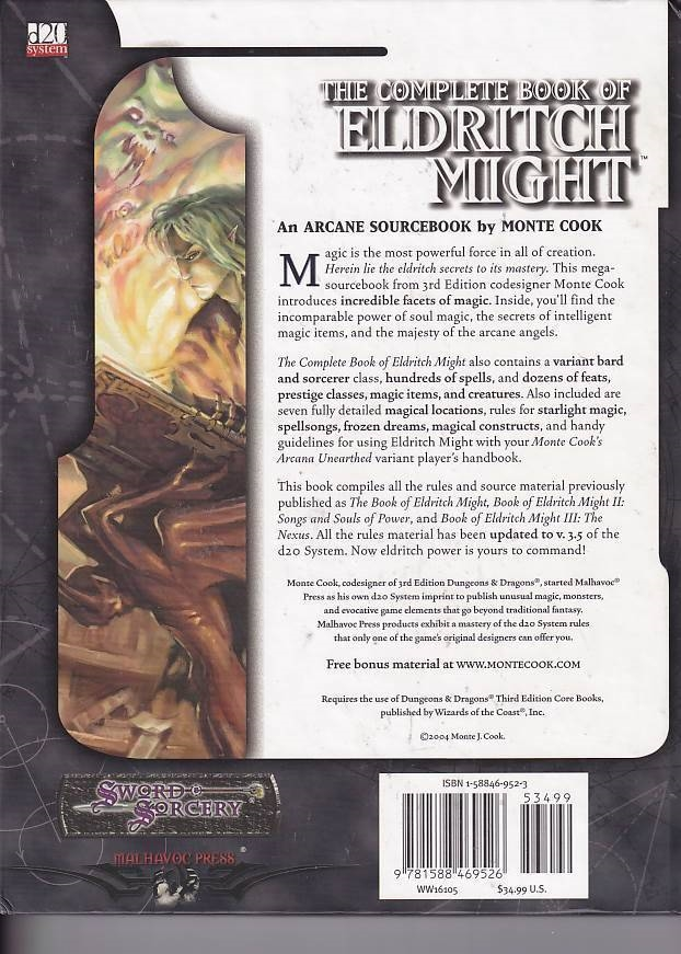 Dungeons & Dragons 3.5 - Sword & Sorcery - The Complete Book of Eldritch Might (Genbrug)
