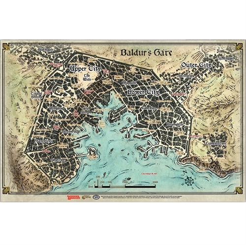 Dungeons & Dragons 5th - Baldur's gate descent into avernus - Baldur's Gate Map (58,4cm x 43,2cm)