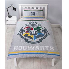Harry Potter Sengetøj - Reversible Hogwarts logo houses - Single sæt