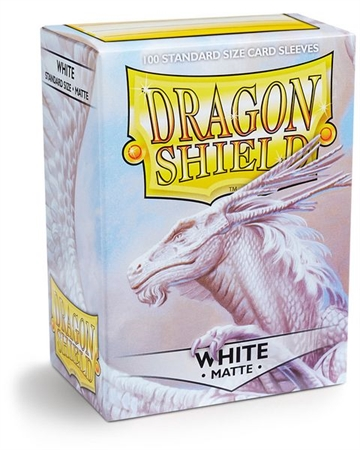 Kort tilbehør - Dragon Shield - Matte White - plastiklommer (100 standard Sleeves)