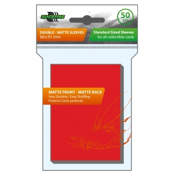 Plastiklommer - Double-Matte - Red (50 Standard Sleeves)