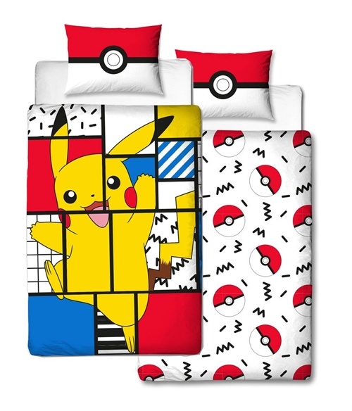 Pokemon Sengetøj - Reversible starters Pikachu Pokeball