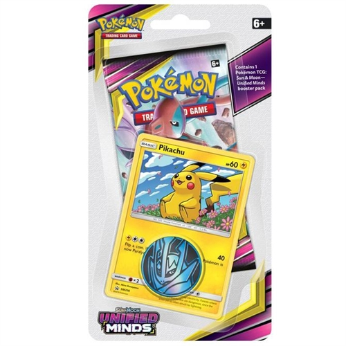 Pokemon Sun and moon 11  - Unified Minds - Checklane Blister Pikachu- Pokemon kort