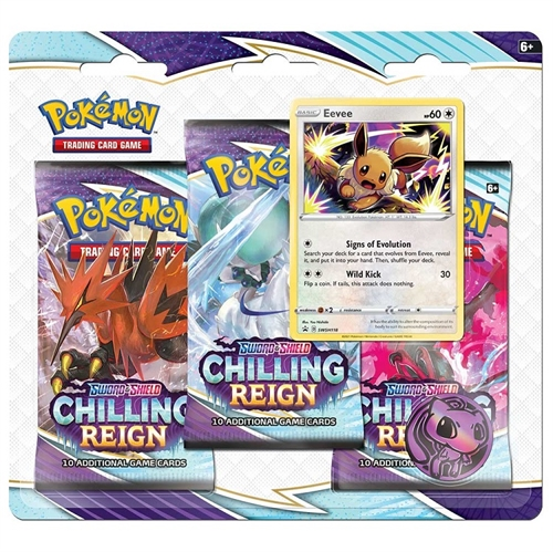 Pokemon Sword & Shield - Chilling Reign - 3-pack Booster Pakke - Eevee
