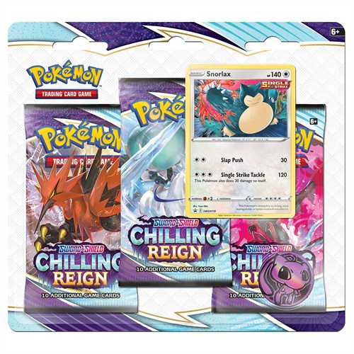 Pokemon Sword & Shield - Chilling Reign - 3-pack Booster Pakke - Snorlax