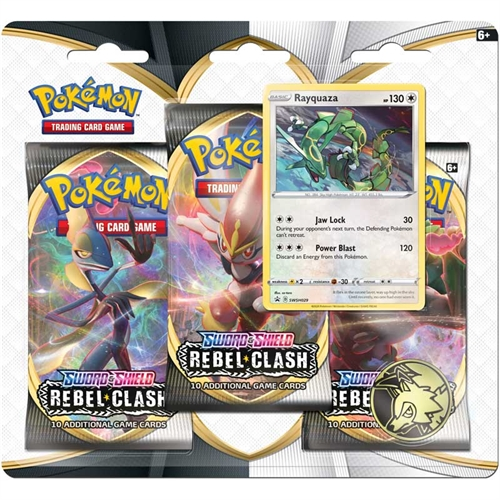 Pokemon Sword & Shield - Rebel Clash - 3-pack Booster Pakke - Rayquaza