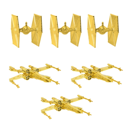 Star Wars - Juletræ Guld dekorationer - (3 stk X-Wing og 3 Tie-Fighters)