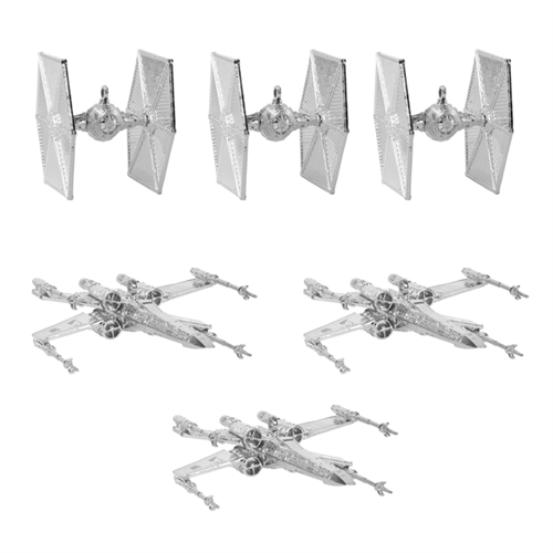 Star Wars - Juletræ Sølv dekorationer - (3 stk X-Wing og 3 Tie-Fighters)