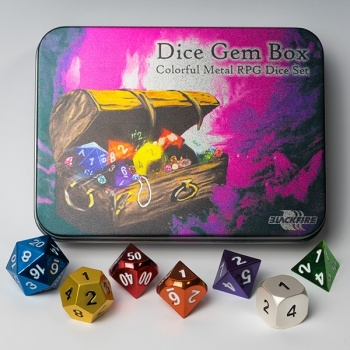 Terningesæt - Metal Dice Set - Dice Gem Box (7 terninger) - Rollespilstilbehør