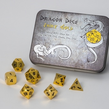 Terningesæt - Metal Dice Set - Gold Dice Box (7 terninger) - Rollespilstilbehør