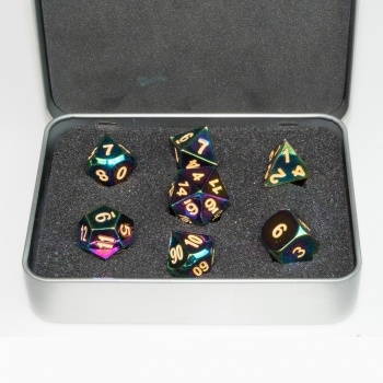 Terningesæt - Metal Dice Set - Scorched Rainbow Box (7 terninger) - Rollespilstilbehør