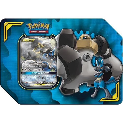 Tin Tag Team Power Partnership - Lucario & Melmetal GX - Tin Box Pokemon kort