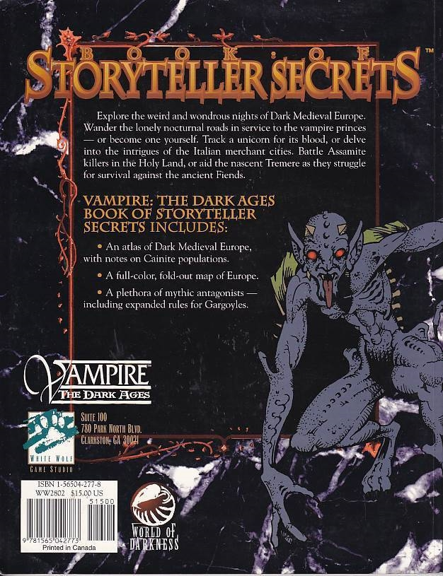 Vampire The Dark Ages - Book of Storyteller Secrets (Genbrug)