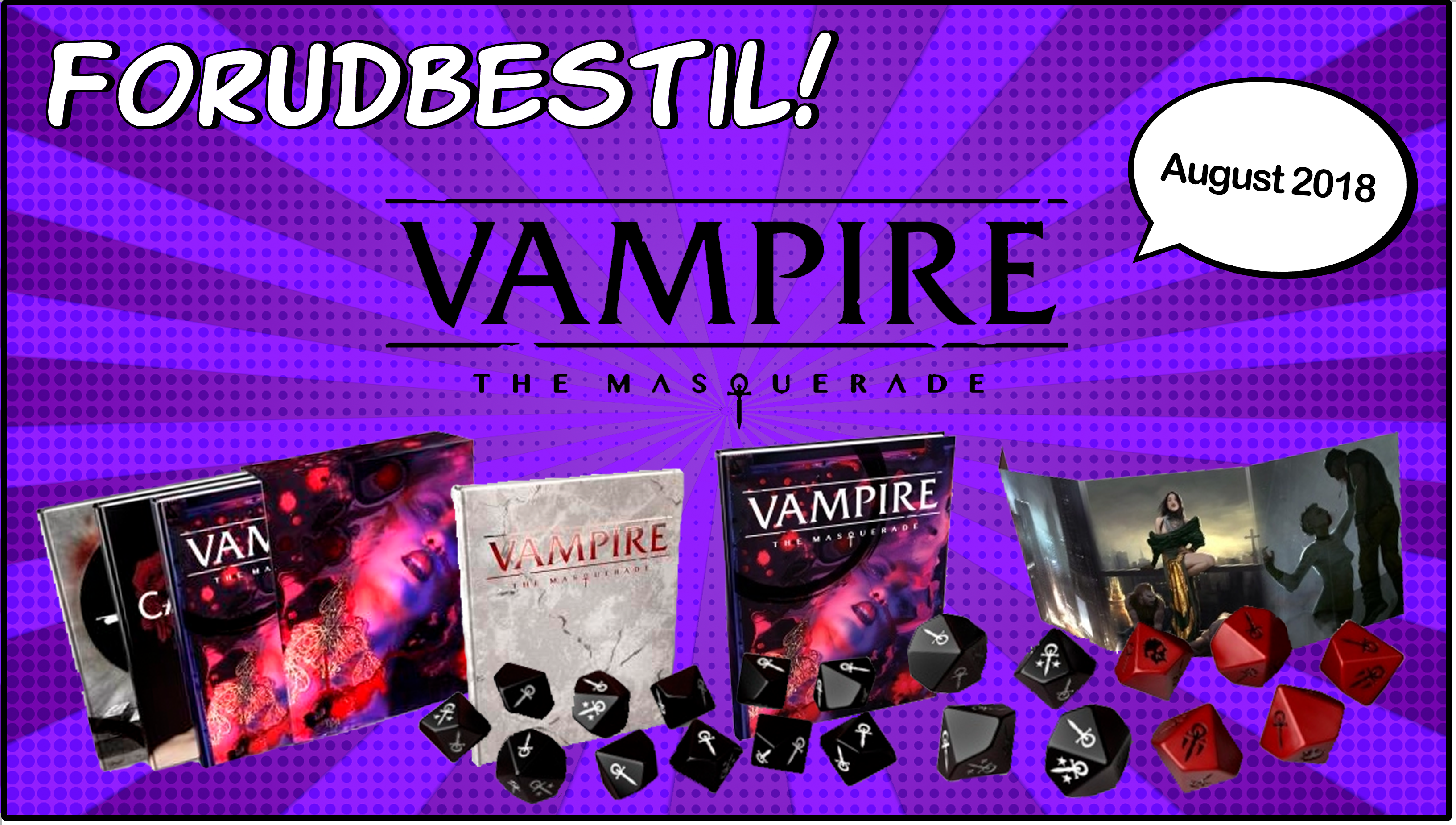 Forudbestil Vampire the Masquerade. Dice Set, Notebook, Storyteller Screen